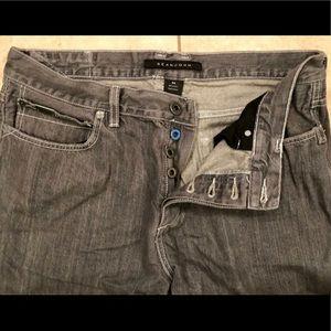 Sean John GRAY Button Fly Jeans, Size 34 X 30